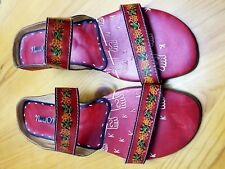 Navid O Nadia Womens Red Leather Mule Sandals- Size 40 or 9 U.S.-Must See Pics!