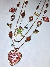 Vtg Betsey Johnson Jungle Book Layered Necklace Pink Leopard Lucite Hearts