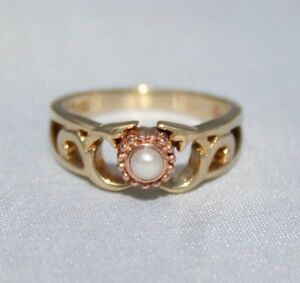 Stunning Clogau Welsh 9ct Gold Queen Mother Freshwater Pearl Ring UK O US 71/4