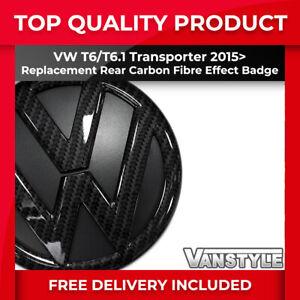 FOR VW T6 TRANSPORTER 2015+ 130MM CARBON FIBRE EFFECT REPLACEMENT REAR VW BADGE