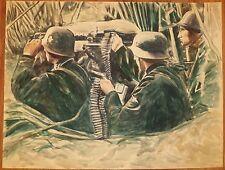 Nazi Soldier Machine Gun Nest Watercolor Painting-1970s-I.L. Winarsky