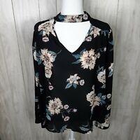 Hippie Rose Juniors' Printed Choker Blouse Size XL Black Floral