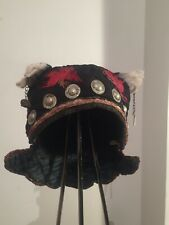 Antique Chinese baby silk hat with  silver metal bells