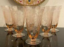 Vintage Pink Etched Iced Tea Glasses Set of 6