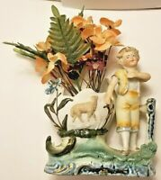 Vintage Porcelain, Ceramic Figurine Vase Planter Boy with a Sheep