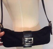 42db23aef49b Authentic FENDI Black Nylon   Leather Baguette Shoulder Bag Handbag Black   1399