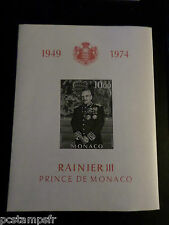 MONACO 1974, BLOC n° 8, ND, NON/DENTELE, RAINIER III, neuf** MNH CELEBRITY STAMP