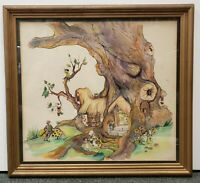 """Vintage """"Gnome Home"""" Ink/Watercolor on Board by Cheryl Whitfield (20th Century)"""