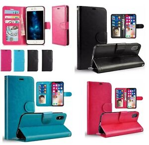 SAMSUNG s9 NOTE 10 iPhone 11 PRO 8 Plus XR Leather Flip Wallet Case Pouch Cover