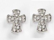 Cruz De Plata Brillante Cristal Pendientes con Pasador