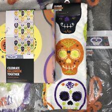 Sugar Skull Bathroom Set Shower Curtain + Bath Rug + Hand Towel Day of the Dead