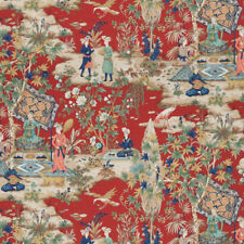 BRUNSCHWIG & FILS MIDDLE EASTERN PERSIAN TOILE COTTON FABRIC 10 YARDS RED MULTI