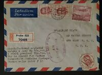 1948 Prague Czechoslovakia to New York Duty Free Stamp Registered Air Mail Cover