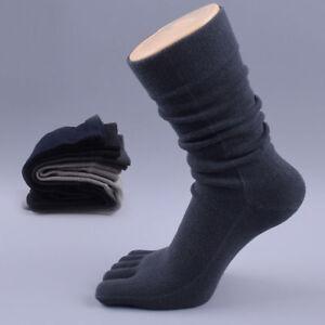 Men's Business Dress Five Finger Toe Socks High Ankle Cotton Long Warmer Socks #