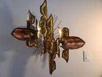 VTG Brutalist Mid Century Abstract Metal Sculpture Torch Art Copper