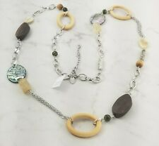 "lia sophia MANTRA 38-41"" silver genuine mother of pearl wood necklace RV $82"