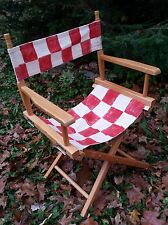 Vintage Folding TELESCOPE DIRECTORS CHAIR Red White Racing Flag Checkered Seat