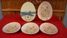 Pottery Barn Easter Egg Plates Set Of 4 In Box Rare Pink Butterfly Flowers