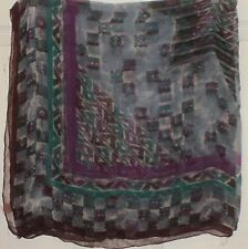 "TERRIART Teal, Purple Abstract Sheer 42"" Square Scarf-Vintage"