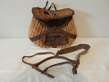 New listing Vintage Fishing Creel Wicker Woven Basket with Leather Straps Old Antique