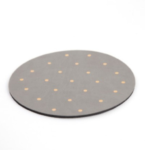 """NWT Threshold Mousepad Faux Leather 8"""" Round Gray With Gold Dots"""