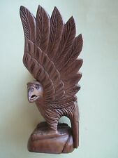 NEW Handcrafted American EAGLE NATURAL L Brown Carved Wood Carving. FREE Ship
