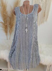Italy Kleid Oversize Midi Sommer Strandkleid gestreift Streifen Weiß Blau 44 46