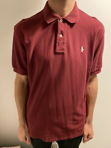 Ralph Lauren Polo Shirt L Large Burgundy Purple Collared Short Sleeve