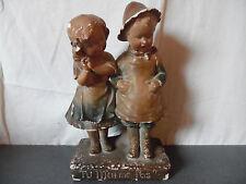 """Rare ancienne sculpture couple enfants """"Tu m'aimes pas ?"""" 338"""