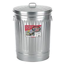 Behrens Steel Silver/Galvanized Metal Trash Can w/ Lid Garbage Storage 31 Gallon