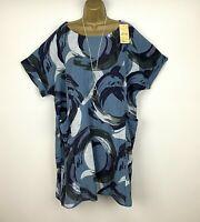 Italian Cotton Tunic Dress Blue Loose Ladies Lagenlook Plus Size 16 18 20 22 24