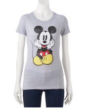 NWT Disney Mickey Mouse Juniors Youth Girls Gray Tee T-shirt Top Gray M Medium