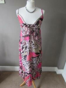 NEXT Ladies Pink Beige Floral Floaty Strappy Summer Midi Dress Lined Size 8 VGC