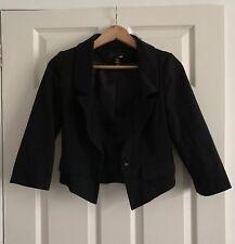 H&M Black Blazer Ladies Size UK 8 EUR 34 Cropped Length - In VGC