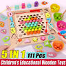 Montessori Fishing Toy Magnetic Game Wooden Children Kids Puzzle Educational