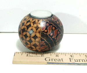 """1 Hard Wood Batik Candle Holder, 2.5"""" Height, Hand Crafted, Made in Bali, Black"""