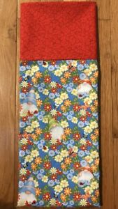 Homemade Cotton Gnomes & Flowers With Red Cuff Pillowcase - handmade, std size