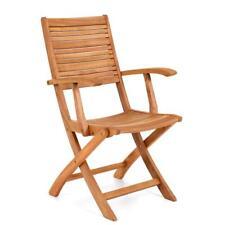 Poltrona sedia con braccioli in legno di eucalipto per esterno arredo giardino
