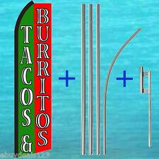 Tacos & Burritos Swooper Flag + 15' Pole + Mount Kit Flutter Feather Banner Sign