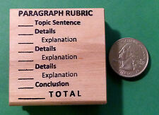 PARAGRAPH RUBRIC - Teacher's Writing/Composition Rubber Stamp, wood mounted