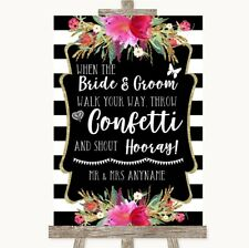 Wedding Sign Poster Print Black & White Stripes Pink Confetti