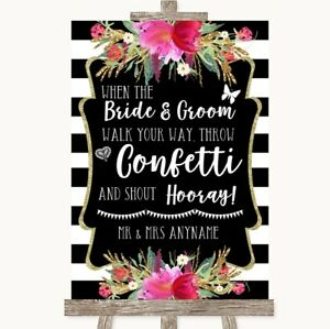 Wedding Sign Poster Print Black & White Stripes Pink Confetti