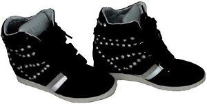 Scarpe Donna Zeppa Alta Pelle Serafini Manhattan Studded Black  Special Editi...