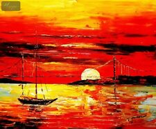 "Modern Art - Red Sunset By The Sea 20X24 "" Oil Painting"