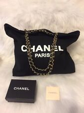 Chanel Canvas,Tote,Shoulder,Shopper VIp Gift Bag  With Gold Chain