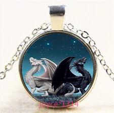 Dragon Cabochon Silver/Bronze/Black/Gold Glass Chain Pendant Necklace #5306