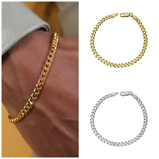 Men's Sterling Silver / 14k Gold over Silver  Bracelet with Cuban Chain