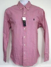 Ralph Lauren Shirt Pink White Check Gingham Medium RET 90 LS Blue Pony Logo