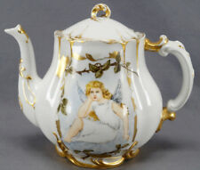 Haviland Limoges Hand Painted Porcelain Fairy & Finches Teapot Circa 1876 - 1889