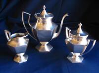 Vintage Silverplated Art Deco Set - Tea/Coffee Pot Sugar Bowl with Lid & Creamer